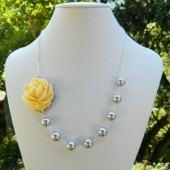 Light Yellow Rose and Grey Pearl Asymmetrical Necklace