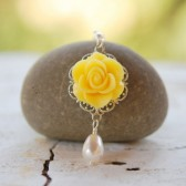 Yellow Rose and White Pearl Teardrop Necklace