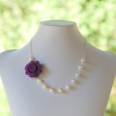 Romantic Purple Rose and Pearl Asymmetrical Necklace