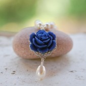 Cobalt Blue Rose and White Pearl Teardrop Necklace