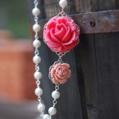 Pink Rose and White Pearl Necklace Asymmetrical