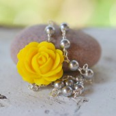 Yellow Rose and White Pearl Asymmetrical Necklace