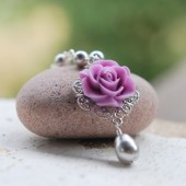 Purple Rose and White Teardrop Pearl Necklace