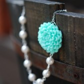 Aqua Flower and White Pearl Bridesmaids Necklaces