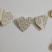 Vintage Book Heart Paper Garland