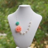 Pink Rose and Green Rose Asymmetrical Necklace with Large White Swarovski Pearls
