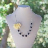 Ivory Rose and Navy Pearl Necklace