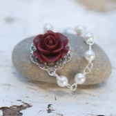 Burgundy Rose and White Pearl Bracelet