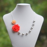 Coral Rose and Peach Rose Asymmetrical Necklace with Large Gray Swarovski Pearls