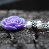 Lavender Rose and White Pearl Necklace