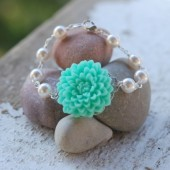 Aqua Flower and White Pearl Bracelet