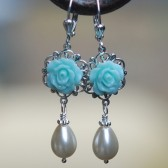 Blue Rose and Pearl Teardrop Earrings