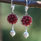 Burgundy Daisy and Pearl Earrings