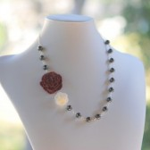 Burgundy Carnation and Cream Flower Cabochon Necklace with Gray Swarovski Pearls