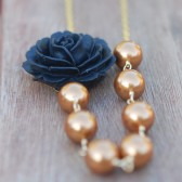 Black Rose and Bronze Pearl Necklace Asymmetrical