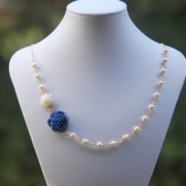 Cobalt Blue and Ivory Rose Asymmetrical Necklace with Ivory Swarovski Pearls