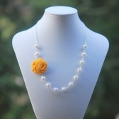Mustard Yellow Carnation and White Pearl Asymmetrical Necklace