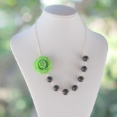 Green Rose and Black Pearl Necklace Asymmetrical