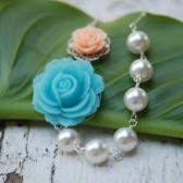 Blue and Peach Rose Pearl Necklace Asymmetrical