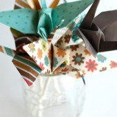 Origami Crane Cupcake Toppers
