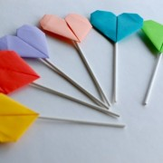 Origami Heart Cupcake Toppers