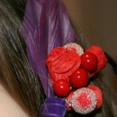 Red Rose Veil Comb and Fascinator with Purple Accents