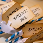 "Vintage Inspired ""Drink Me"" Barber Pole Straws"