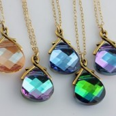 You choose your color, Set of 5 Swarovski Necklaces on 14k Gold Filled, Bridal Party Gifts
