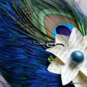 Unique Peacock Feather and Vintage Paper Flower Comb and Fascinator