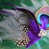 Peacock Feather Hair Clip with Rhinestones and Leopard Accents