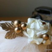 Ivory and Gold Veil Comb and Fascinator with Vintag Gold Accents