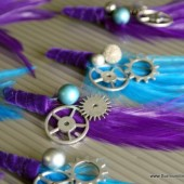 Purple Aqua Gear Hair Clips