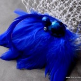 Royal Blue Crystal Veil Comb and Fascinator