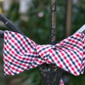 Black and Red Checked Bow Tie