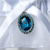 Wedding Garter Aquamarine Blue Gem