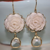 Ivory Rose Cabochon Earrings