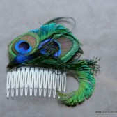Beautiful Large Peacock Feather Hair Comb