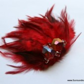 Red Feather Crystal and Rhinestone Veil Comb and Fascinator