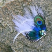 White and Peacock Feather Veil Comb and Fascinator
