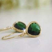 Emerald Green Glass Earrings