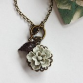 A Tinge of Grey Green.. - A Dreamy Romantic Flower Necklace