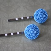Victorian hair pins blue
