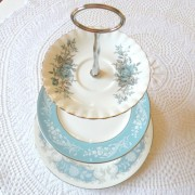 Blue Silver and Grey Cupcake Stand Display