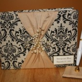 Center Bead Guest Book and Pen Set