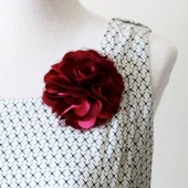 Fabric Brooch - Red Hot Silk and Organza Flower
