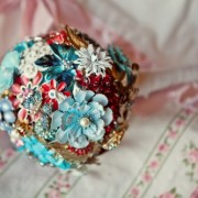 Aqua + Red Custom Brooch Bouquet
