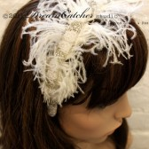 Carissa White Feather and Crystal headband, fascinator