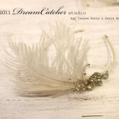 Elsa White Feather and Crystal headband, fascinator - K009