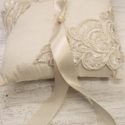 Luiza Lacy ivory Ring Bearer Pillow with vintage lace accents