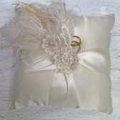 Mellissa Ivory Ring Bearer Pillow with Feather